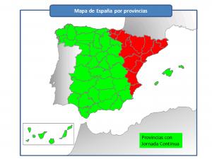 Mapa de España con Jornada Continua - (c) Francis Selva